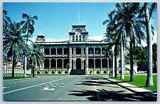 Iolani Palace on Honolulu, Oahu, Hawaii King Kalakaua Chrome Postcard Unused