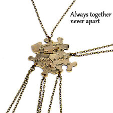5PCS/1Set Interlocking Jigsaw Puzzle Pendant Necklace Best Friends Friendship