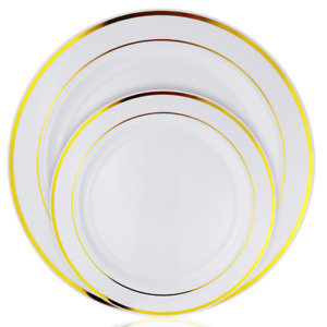 200 Piece White & Gold Rimmed Plastic Plate Set, 100 Dinner and 100 Salad Plates