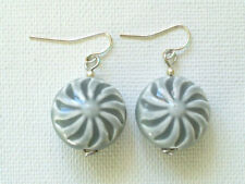 Silver Plated Round Stone Ceramic Costume Earrings
