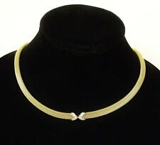 NEW-SKAGEN GOLD+SILVER TONE S/STEEL DOMED MESH NECKLACE+CRYSTAL PAVE JNG0015