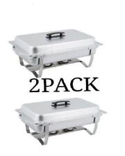 2 Pack Choice Economy 8 Qt. Full Size Buffet Catering Stainless Steel Chafer
