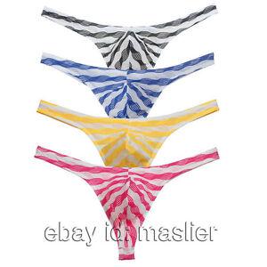 Men Sexy Pouch Striped Micro Underwear T-Back Male Panty Bikini Thongs