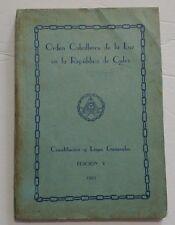 """1957 """"Constitucion y Leyes"""" Orden Caballero de la Luz Cuba Freemason Order Laws"""