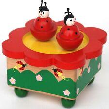 Wooden Twin Ladybug Music Box