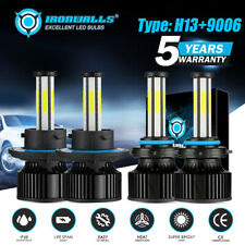 IRONWALLS H13+9006 2800W 6Sided LED Headlight Bulbs 6500K Super Bright Fog Beam
