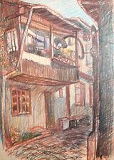 Vintage pastel drawing cityscape landscape