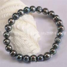 Natural Elegant White Pink Black Akoya Freshwater Pearl Elastic Bracelet 7.5''