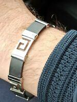 Men Bracelet SILVER Ancient Greek Jewelry Key Bracelet Meander Dad Gift Son HMDE