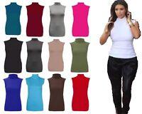 Womens Plain Polo Neck ladies Sleeveless Stretch Turtle Jersey Basic Top UK Size