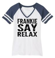 Ladies Frankie Say Relax Funny 80's Music Shirt Game V-Neck Tee Hollywood 80s