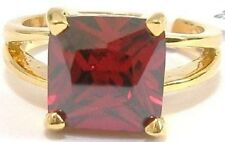 18K GOLD EP 8.0CT GARNET SOLITAIRE RING WOW size 7 or O