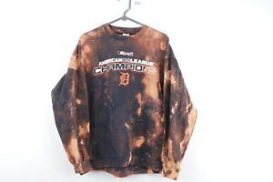 Vintage Mens Large Detroit Tigers American League Champions Acid Wash Sweatshirt