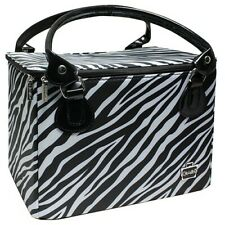 Caboodles Zebra Print Sweet and Sassy LARGE 8x8x10 Tapered Makeup Tote. NEW!