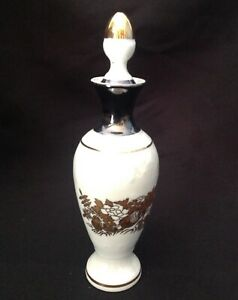 Porcelain Bottle With Stopper Iridescent White And Gold Color Accents
