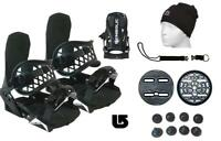 Symbolic Flow-Ride Snowboard Bindings+Leash+Beanie+Burton 3D Kid Youth BLK XS S