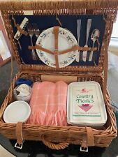 Picnic Basket for Two - Wicker & Leather - Hand Crafted by Thomas B. Swain