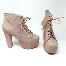 Jeffrey Campbell Lita Pink Calf Hair Lace Up Platform Ankle Booties Boots Shoes