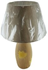 """Ceramic 19"""" Table Lamp and Shade Tan Leaf Finish Night Stand Counter U/L"""