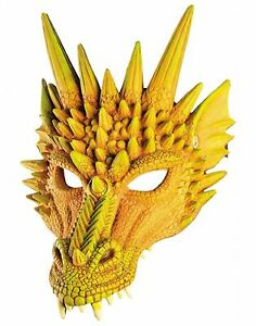 Yellow Dragon Mask Mythical Creature Fancy Dress Halloween Costume Accessory