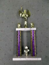star victory 2 post trophy award wide white marble base purple columns