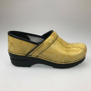 Dansko Womens Clog Shoes Yellow Snake Print Leather Wedge Slip Ons 7.5-8 EUR 38