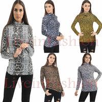Women's Ladies Long Sleeve Turtle Polo Neck Leopard & Snake Print Top 8-26
