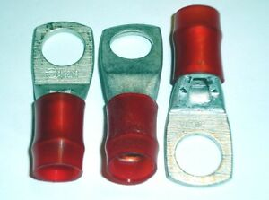 8x Brundy 2 Gauge Ga Red 1/2 Ring Lug Crimps AN-2 YA UL SA Connectors AWG Lot 8