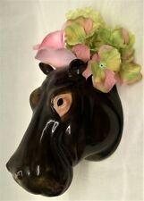 More details for quail ceramic hippo head wall pocket or vase - wildlife animal hippopotamus