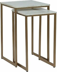 Penguin Home Set of 2 White Marble Top Side Tables with Sturdy Gold Painted|