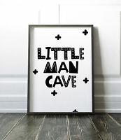 Little Man Cave Print Scandinavian Boys Bedroom / Nursery Print Black & White