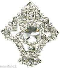Silver Diamante Rhinestone Flower Brooch Broach Pin Costume Jewellery- - UK