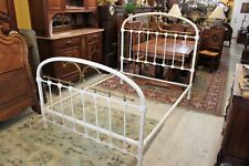 English Antique Iron & Brass White Full Size Bed Frame | Bedroom Furniture