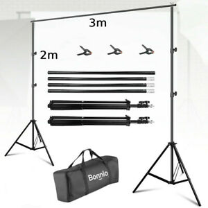 10Ft Adjustable Photography Background Support Stand Backdrop Crossbars Kit 2X3M