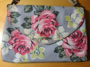 """Cath Kidson Floral Print Cross Body/Clutch Bag PVC Coated  Cotton 11.5"""" x 8"""" New"""