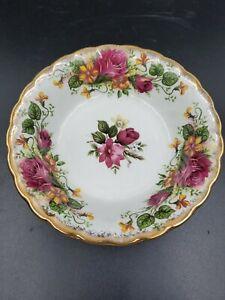 "Princess House Exclusive Pink Roses Gold Trim 5 1/4"" Fruit Dessert Bowl  Vintage"