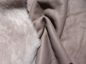 sheepskin shearling leather hide Ultrathin Taupe Brown silky w/Grey smooth back