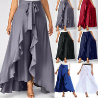 Fashion Womens Side Zipper Tie Front Overlay Pants Ruffle Skirt Bow Long Skirt