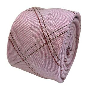 Frederick Thomas Designer Mens Tie - light baby pink check wool