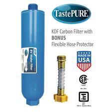 Camco Tastepure Water Inline Filter RV Kdf Carbon Flexible Hose Protector