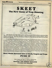 1935 PAPER AD The New Game Of Trap Shooting Diagram Skeet Grounds Gun Shooting