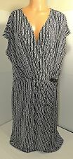 ~GO WILD!~ Michael Kors Black & White Short Sleeve Faux Wrap Dress Sz 2X #1799