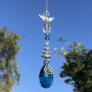 Blue Christmas Tree Decoration Sun Catcher Angel ~ Memorial Keepsake Pet Loss