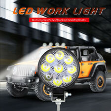 Round 27W LED Work Light 12V 24V Off-Road Flood Spot Lamp For Car Auto SUV 4WD