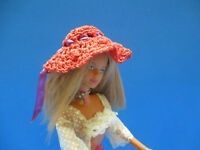 "Barbie or small doll handmade crochet clothes "" Red Hat"""