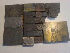 Lot of 18 VTG Metal Wood  Print Type Blocks