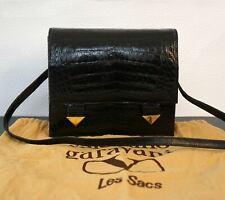 NIGHT by VALENTINO GARAVANI Vintage Croc Embossed Leather Clutch Shoulder Bag