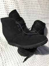 Auth Prada Hidden Wedge Desert Black Suede Ankle  Lace Up Booties Sz 37 $680