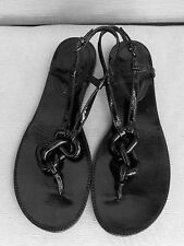 BURBERRY Black Link Patent Leather Thong Sandals $395