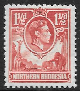 NORTHERN RHODESIA 1 1/2d carmine-red, SM hinged (could be UM). SG 29. Cat.£50.